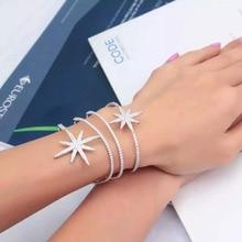 GODKI moda luksusowe Super błyszczące gwiazdy kolor AAA cyrkonia kobiety szerokość bagietka bransoletka bransoletka