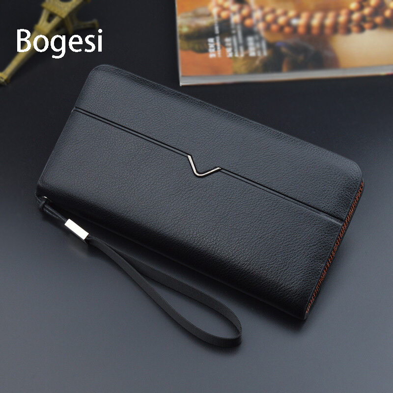 Bogesi New 2018 PU Leather Wallet With Strap High Quality Zipper Wallets Men  Brand Long Purse Male Clutch  Long Money Bag double zipper men clutch bags high quality pu leather wallet man new brand wallets male long wallets purses carteira masculina