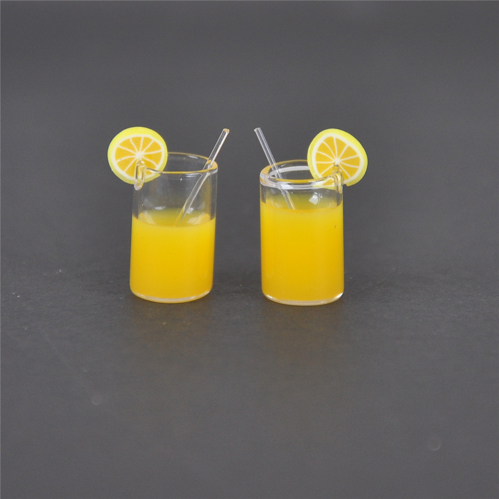 2pcs/lot Mini Resin Lemon Water Cup 1:12 Dollhouse Miniature Doll House Accessories Cups Toy Mini Decoration Gifts
