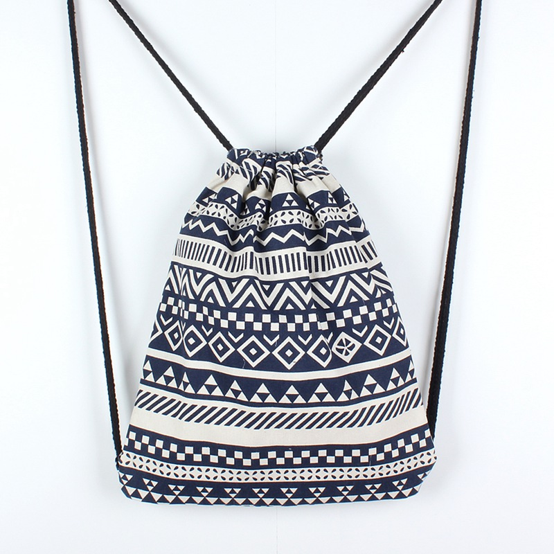 Ethnic Style Sack Small Drawstring Backpack Bag For Women Fitness And Cycling Beach Backpack Bag Dance Bag Outdoor ethnic style high waist drawstring tribal print midi skirt for women