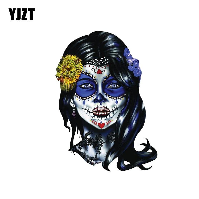 YJZT 10.3CM*14CM Accessories Decal Woman Sugar Face Skull Car Sticker PVC  6-0037