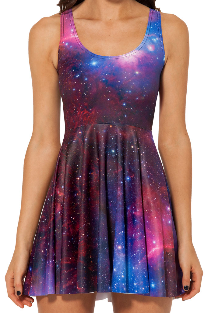 Fashion 1017 Sexy Girl Women Summer purple galaxy star sky 3D Prints Reversible Sleeveless Skater Pleated Dress