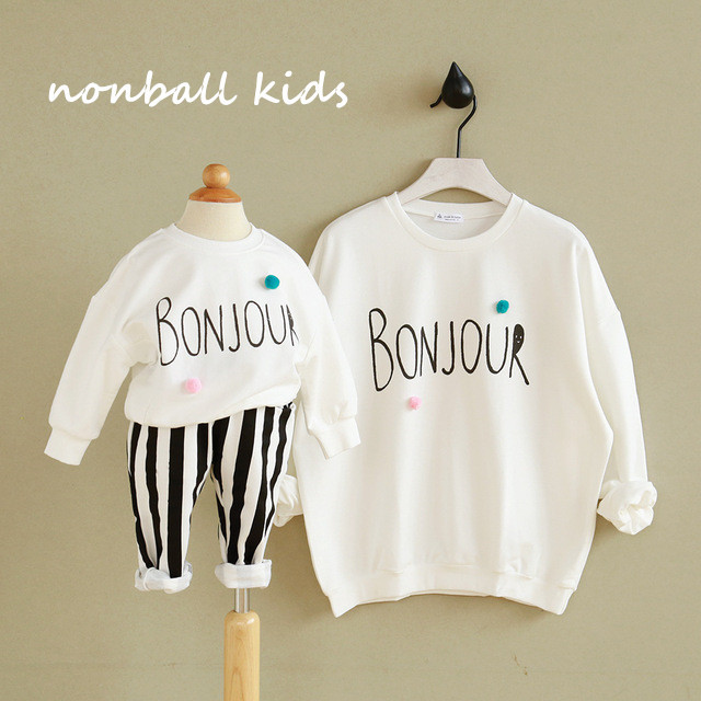 In stock family matching chlothes family look sweatshirt family clothing mother and daughter clothes mother son outfits bonjour