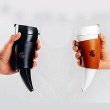 Termos Taza cuerno Garra Copas Parejas y Cuerno de Buey Cuerno Cable de Acero inoxidable de Mantener Caliente la Taza de Cristal Taza de Café Acompañado tazas