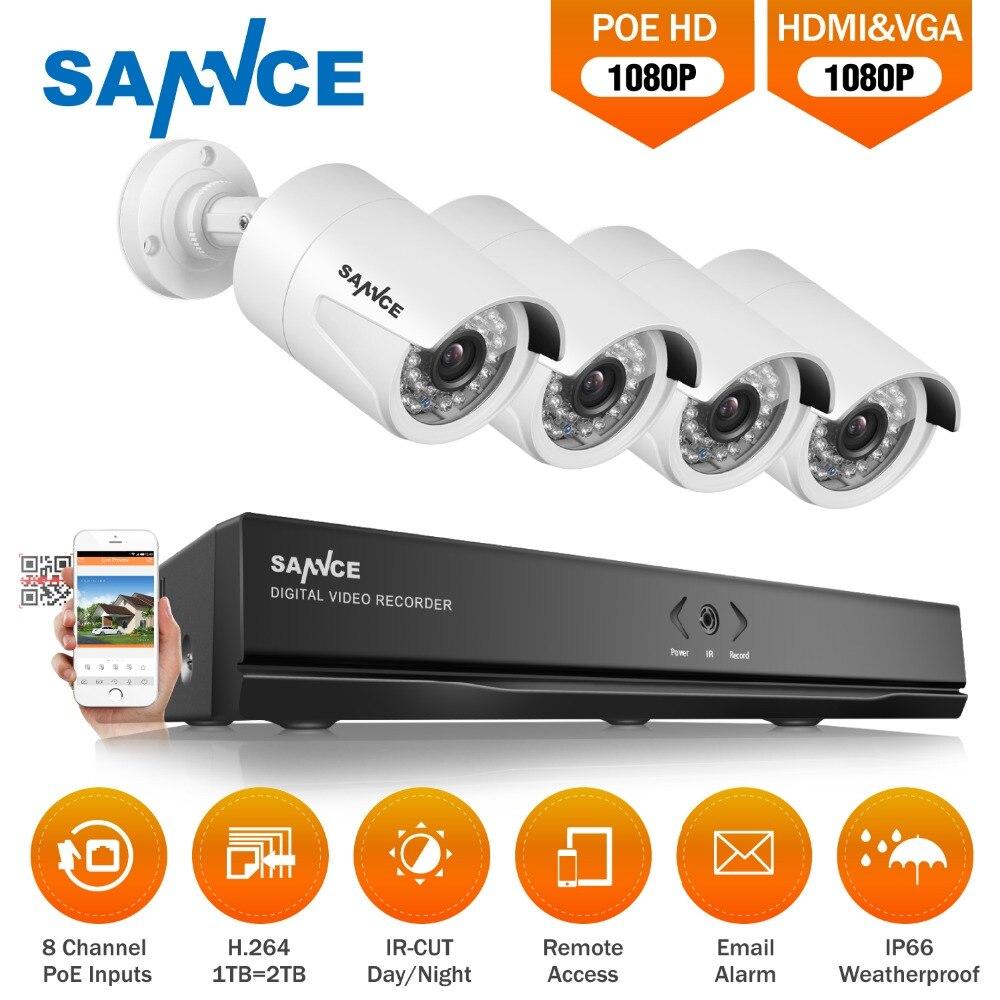 SANNCE Full HD 8CH 1080 P POE kit nvr 4 Bullet 2.0MP PoE IP Caméra P2P Cloud Service Système Vidéo CCTV système de Surveillance 1 TB HD