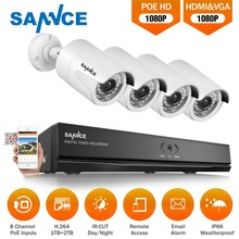 SANNCE Full HD 8CH 1080 P POE NVR комплект 4 пуля 2.0MP PoE IP Камера P2P облако Услуги Системы Видео видеонаблюдения Системы 1 ТБ HD