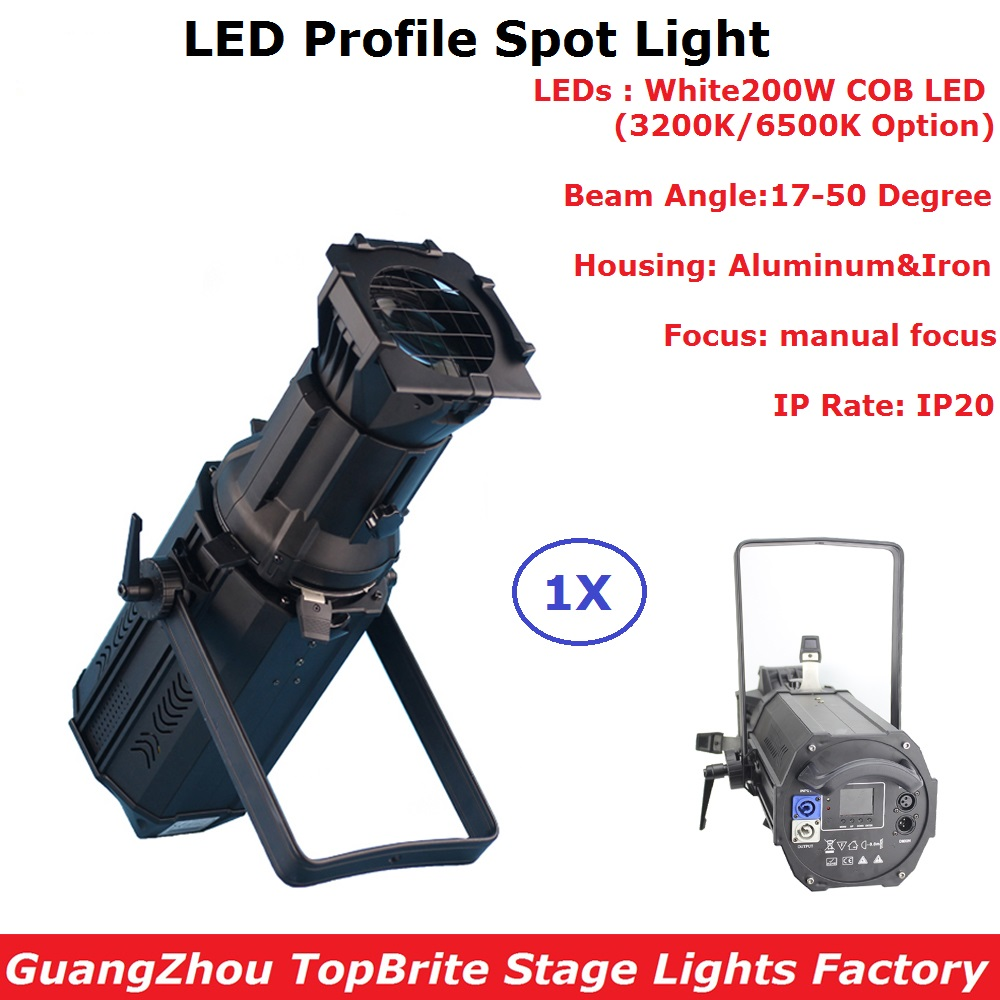 200W Warm White/Cold White Optional LED Profile Spot Light Professional Zoom Gobo Lights IP20 For Party Wedding Stage Dj Shows 12lot dj studio theater led follow spot led 120w 200w 300w led ellipsoidals profile spot zoom