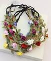 Comercio al por mayor al por menor de moda popular playa de bohemia rose flor diadema de cuero trenzado accesorios para el cabello diadema colores surtidos