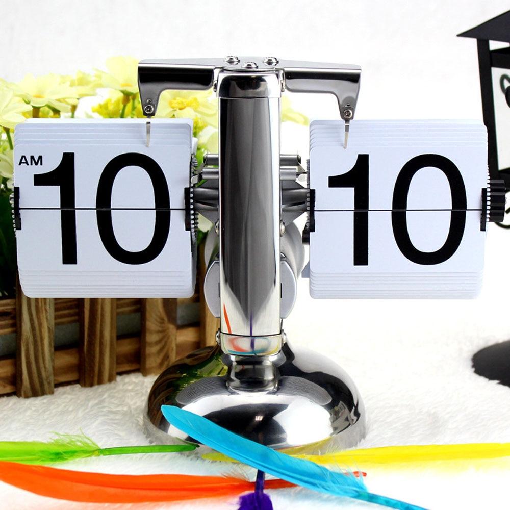 2017 negro/blanco PEQUEÑA ESCALA reloj de mesa de escritorio Retro Flip reloj de acero inoxidable Flip interna engranaje de reloj de cuarzo