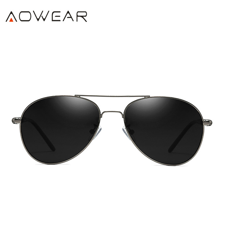 AOWEAR Брендовая Дизайнерская обувь Поляризованные солнечные очки в стиле пилота Для мужчин UV400 вождения очки с зеркальным покрытием линз, солнечные очки с Чехол Gafas De Sol - Цвет линз: C3 Gray Black