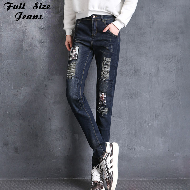 ФОТО New Design Spring Plus Size Ripped Cartoon Print Painting Jeans Oversized Boyfriend Casual Ripped Jeans 4Xl 5Xl 6Xl 7Xl