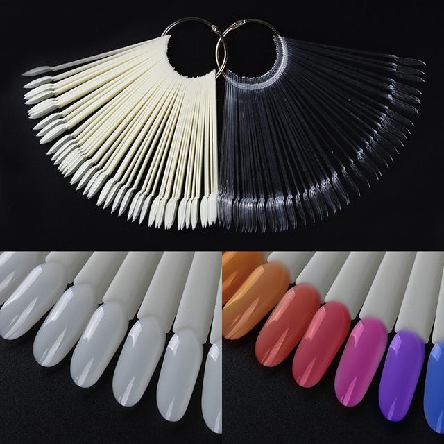 50Pcs Color Card False Nail Tips Fan Shape Transparent White Manicure Nail Art Practice Display Tools