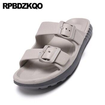 Sandali Blu Piatti   Casuale Italiano Nativo Pista Mens Sandali Outdoor 2019 Di Estate Blu Famose Scarpe Di Marca Open Toe Slip On In Gomma Pantofole Diapositive