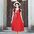 Женские Летние Платья 2016 Мода Новый Синий И Красный V Образным Вырезом Без Рукавов Хлопок Белье Вышивка Цветы Повседневная Большой Платье