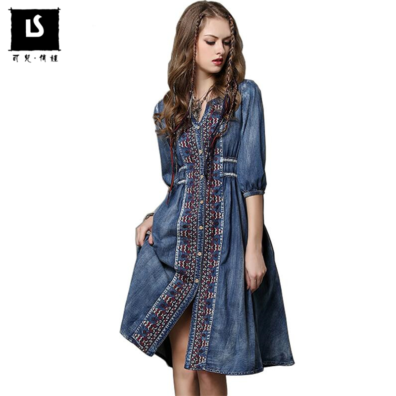 2019 Spring Summer Denim Dresses National Style Embroidery Dress Women Half Sleeve Lady Vintage V Neck