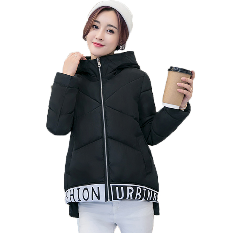 Women Casual Parka 2017 Femme Casaco New Winter Long Sleeve Hooded Loose A-lin Letter Padded Coats Plus Size Jacket Mujer plus size letter print hooded sweatshirt dress