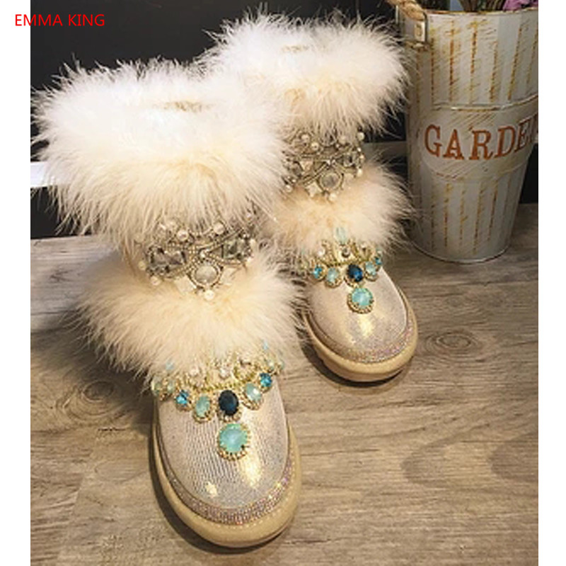 D'hiver Shown Neige Confortable Cheville Femmes Chaussons Chaussures De Main In 2018 Nouveau Bottes Femme Rihanna Strass Fourrure Coton As Picture Chaud SUXxqwXPz