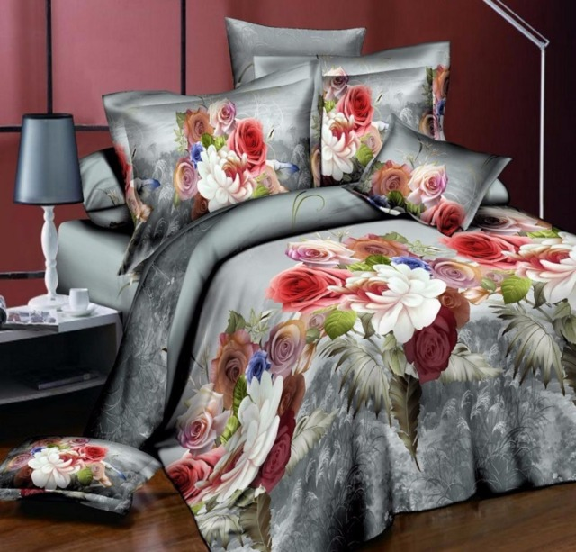 Many Styles Rose Bedding Set Peach Fl Linens King Size Flower Duvet Cover Flat Sheets Christmas Gifts