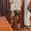 Pantalon Femme 2016 Весна Женщин Вскользь Брюки Брюки Народном Стиле гарем Брюки Плюс Размер Свободные Брюки Эластичный Пояс Широкую Ногу брюки