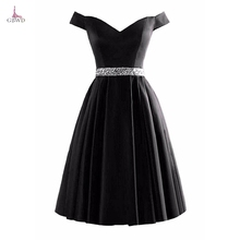 2018 Cocktail Dress V Neck Satin Homecoming Dresses Bead Sequin Knee Length Cap Sleeve Prom Gown Little black Dress