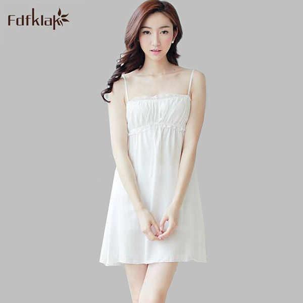 1c93960f97 Sexy cotton summer dress sleeveless short ladies nightie strapless  spaghetti strap white nightdress nightgowns for women