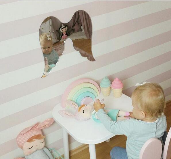 Baby Room Decoration Mirror Kids Room Decor Nursery Childrens Wall Art Wings Batman Baby Shower Gift New Baby Boy Mirror Nordic