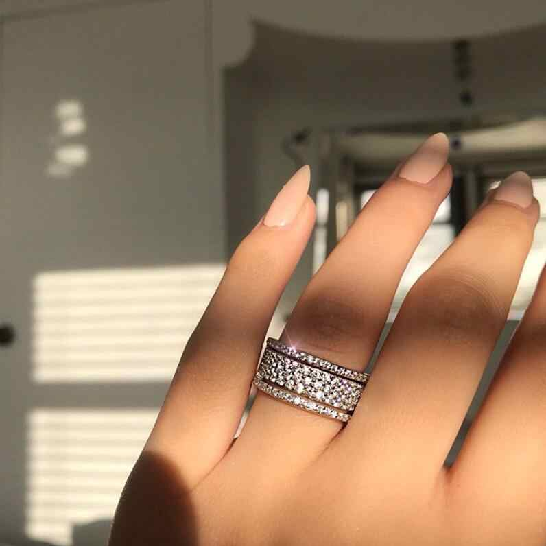 Vecalon, набор суперновых колец полумесяца, кольцо для обещания, серебро 925 пробы, AAAAA Cz, вечерние Обручальные кольца для женщин, свадебные ювелирные изделия
