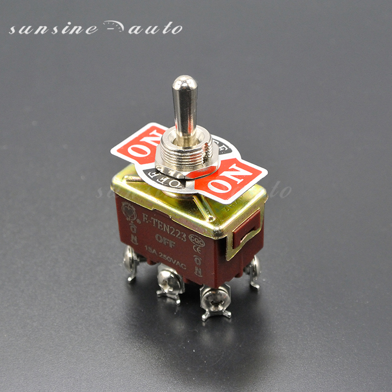 Heavy Duty 6 Pin Momentary Toggle Switch DPDT (ON)-OFF-(ON) Centre Off image