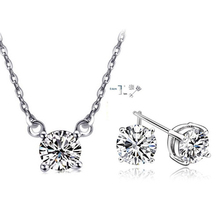 2016 New Arrival Valentine's Day gift Elegant Jewelry Set Necklace Pendant Stud Earring With Grade AA Zirconia Crystal For Women