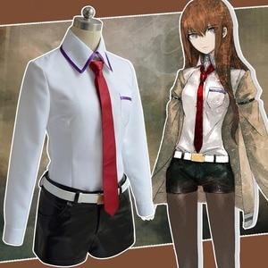 Image 2 - טיינס שער קוספליי תלבושות יפני אנימה משחק קוספליי Kurisu Makise מדים סט מלא מעיל חולצה עניבת חצאית תפור לפי מידה