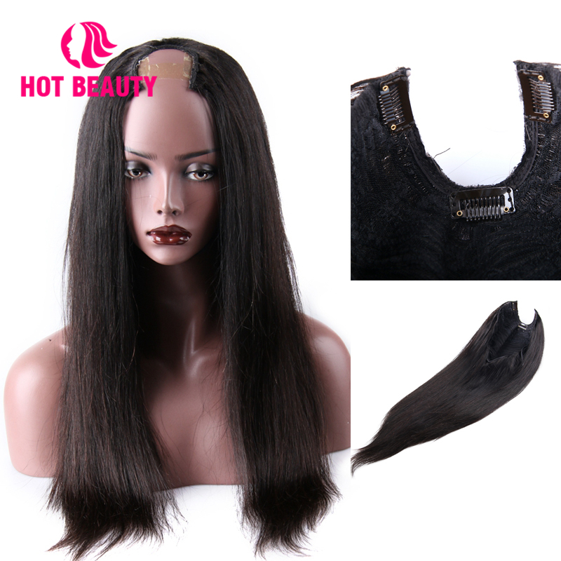 Hot Beauty Hair Peruvian Human Hair U Part Wigs Remy Straight Hair Wigs For Black Women Average Size Cap Swiss Lace 10-30 Inch