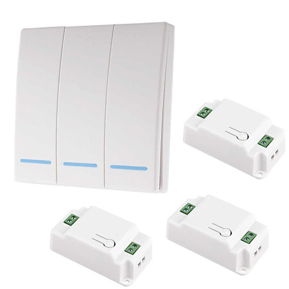 2019 yeni 110V 220V alıcı akıllı anahtar kablosuz anahtarı ışık RF uzaktan kumanda AC duvar paneli 86 tip 433 mhz