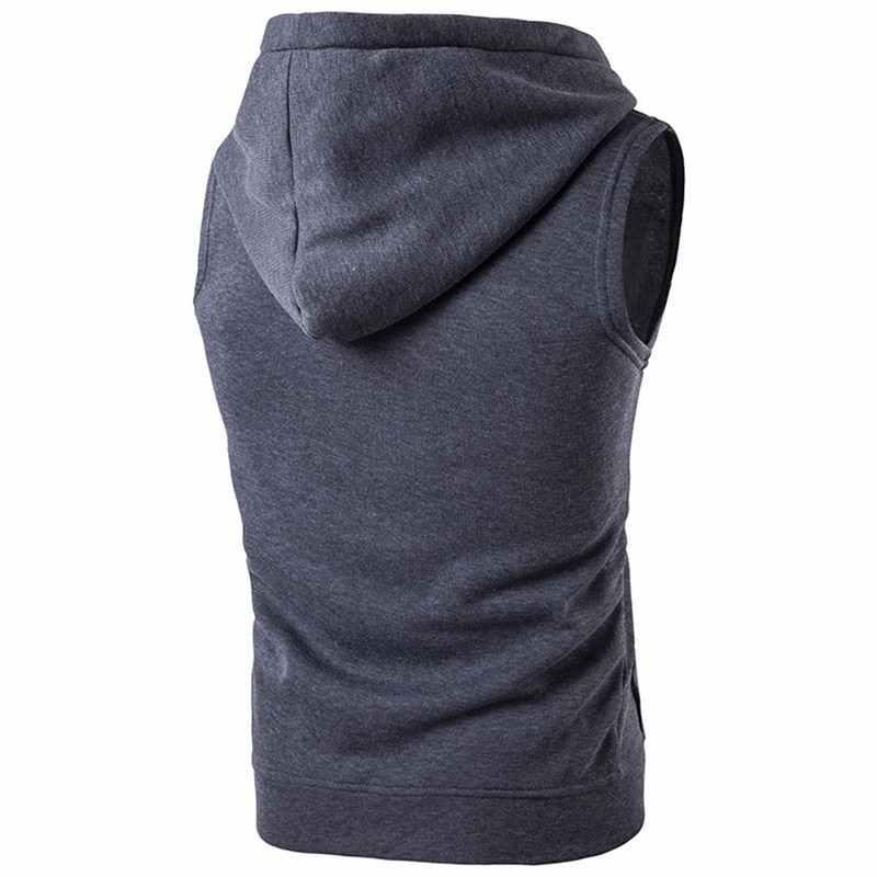 브랜드 뉴 솔리드 조끼 남자 패션 민소매 후드 가디건 재킷 가을 인과 지퍼 포켓 조끼 양복 조끼