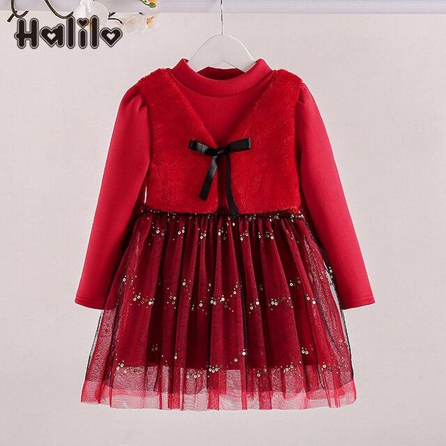 6e03c38329a1 Halilo Nowy Rok Sukienki Dla Dziewczynek Plus Aksamitne Dziewczyny