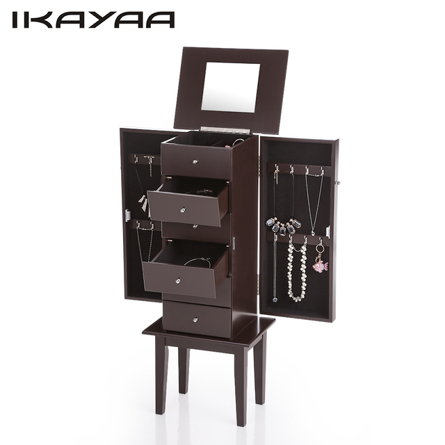 Ikayaa de antiguo pie joyas armario gabinete Flip Top mirrored ...