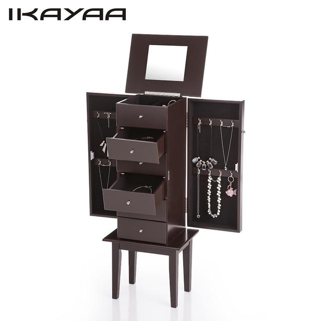 iKayaa DE Stock Antique Standing Jewelry Armoire Cabinet Flip top