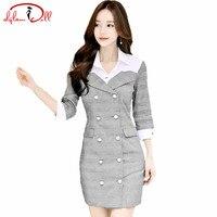 2017 Autumn 3 4 Sleeve Double Breasted Bodycon Work Vestidos Women Sexy Mini Grey Cloth Office