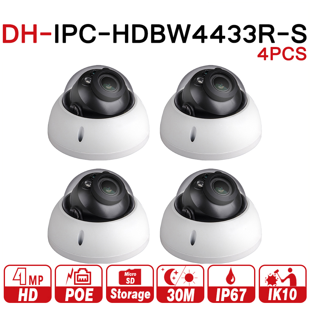 DH IPC-HDBW4433R-S 4 шт./лот 4MP IP Камера заменить IPC-HDBW4431R-S IK10 IP67 POE слот для карты SD Starnight Cam большой Ночное видение