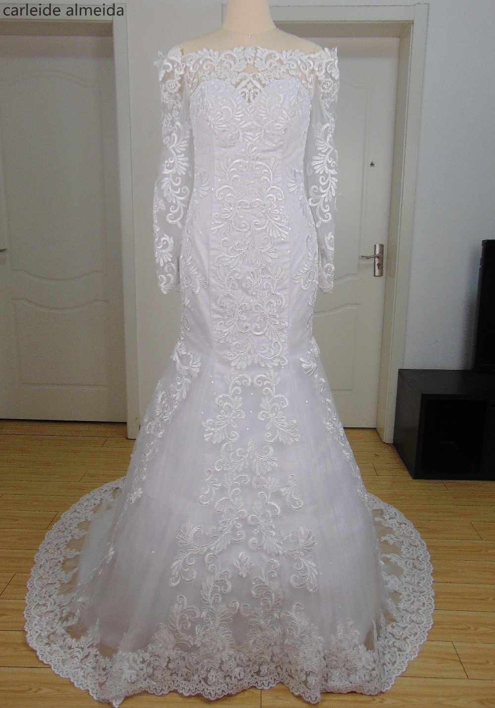 Vestido de Noiva Sequined  Tulle Mermaid Wedding Dresses Long Sleeves Lace Appliques Rob ...