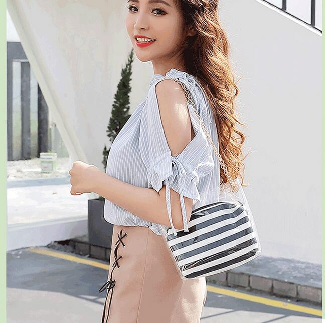 1 set 2 pieces new Clear PVC jelly shoulder bag Transparent handbag with Stripe chain bucket bag mobile phone Messenger bag