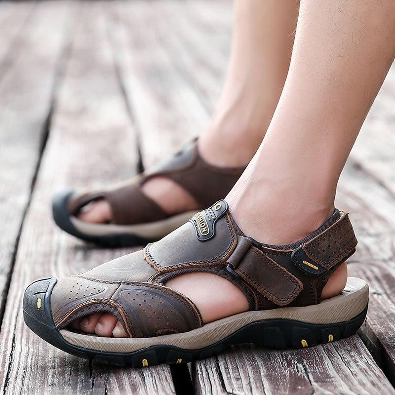 Gladiator Sandals Genuine-Leather Casual Flat Solid Basic for Men Hook Loop Homme