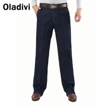Big Size 42 Men Thick Denim Straight Jeans High Waist Casual Long Trousers 2016 Winter Male Jeans Plus Velvet Thermal Warm Pants