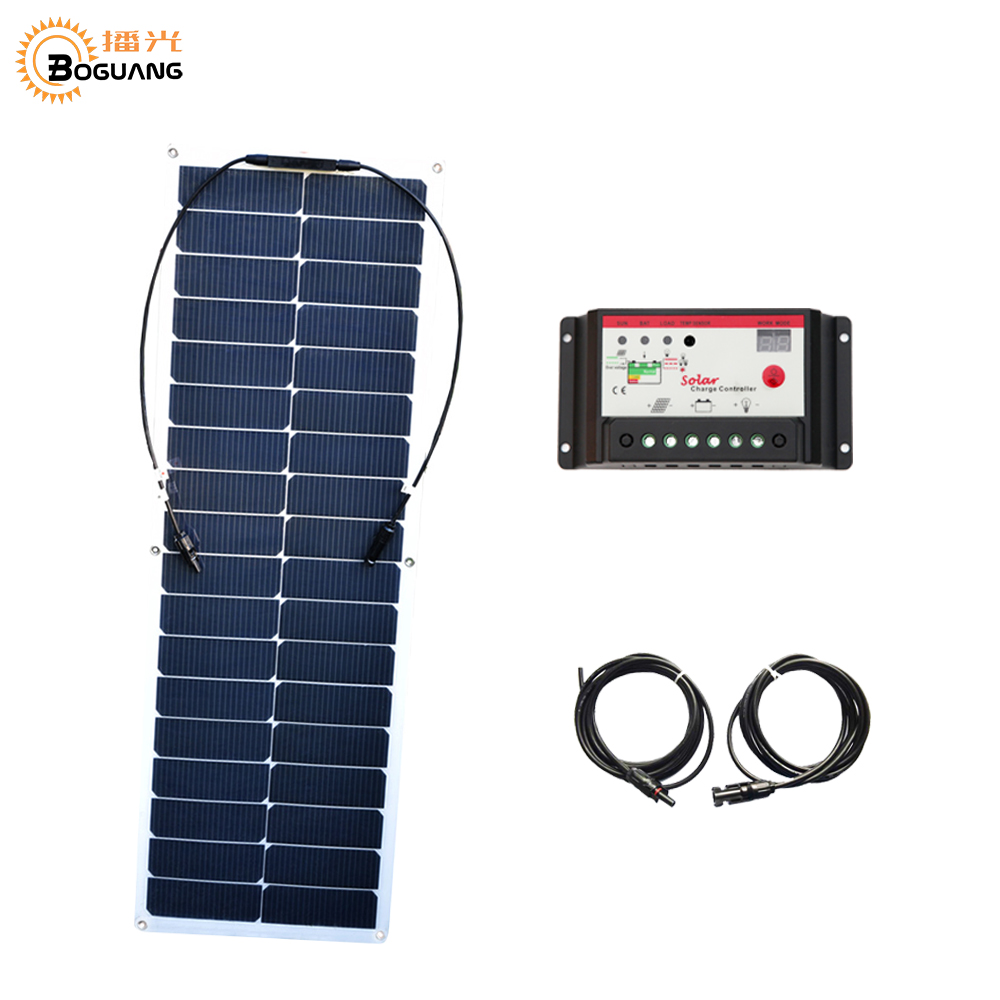 BOGUANG 50w flexible solar panel high effcient cell module 10A controller cable with MC4 connector for 12v battery car RV charge flexible solar panels 25w for boats with connection box 0 9m cable mc4 connector 12v