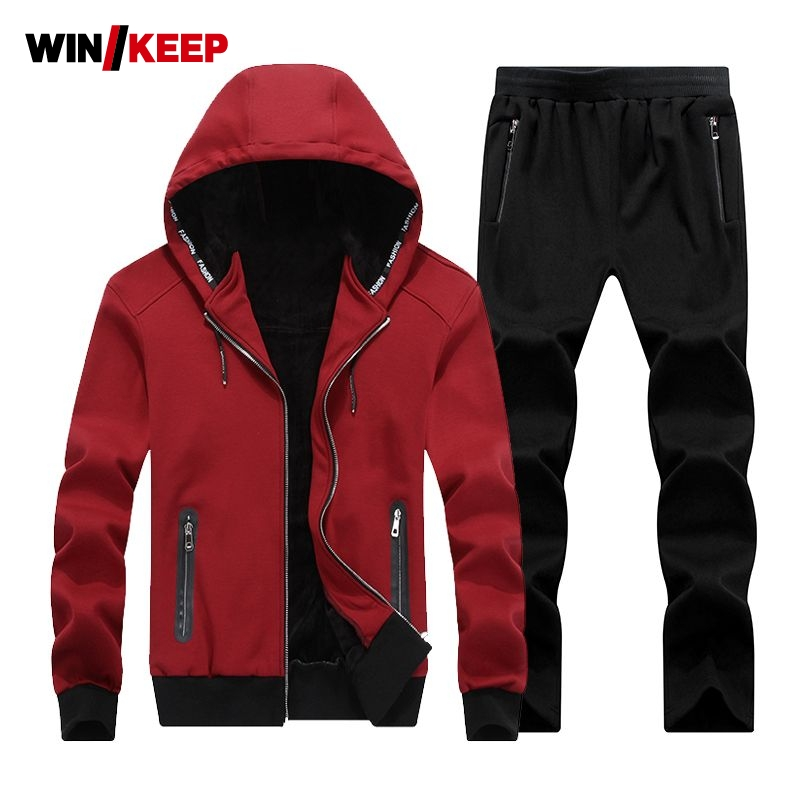 Warm Winter Sport Suits Men Hoodies Sets 7XL 8XL Big Size Mens Gym Sportswear Fleece Fabric Running Jogging Suit Male Tracksuit men sport suit autumn winter big size 6xl 7xl 8xl warm knitted tracksuits printing design male fitness jogging running sets