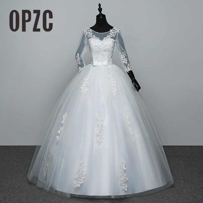 100% Real Photo Red White Three Quarter Sleeve 2018 Arrive Korean Style Ball Gown Fashion Lace Wedding Dress Elegant Princess GZ
