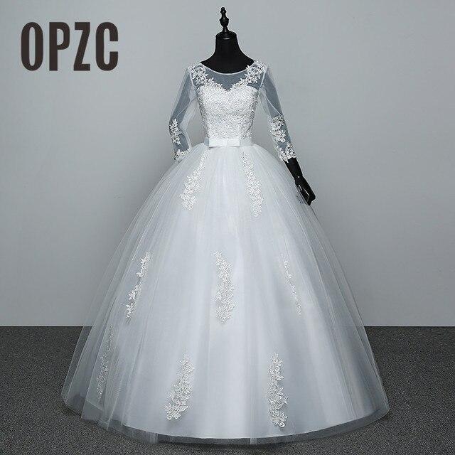100% תמונה אמיתית אדום לבן שלושה שרוול רבעון 2018 מגיע אופנה קוריאנית סגנון כדור שמלת נסיכה אלגנטית שמלת כלה תחרה GZ