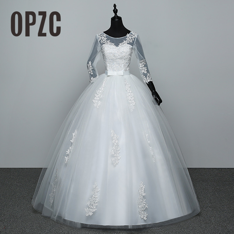 100% Real Photo Red White Three Quarter Sleeve 2018 Arrive Korean Style Ball Gown Fashion Lace Wedding Dress Elegant Princess GZ