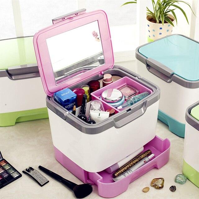 Он новый 2016 многофункциональный макияж коробка Путешествия домой необходимо косметическая коробка с зеркалом с ящиками
