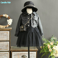 Kids 2017 Autumn And Winter Girls Western Style Leather Dress With Short Thickening Jacket Two Piece