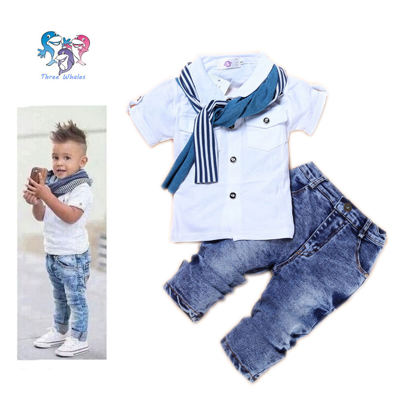3edfef028d6be Boys Boutique Clothing Set Cotton Kids Designers Clothes Scarf Brand Boys  Outfits Baby Boy Summer Clothes